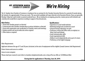 2019 Chamber of Commerce Assistant Job Posting